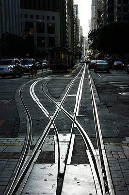 Poster featuring the photograph San Francisco Silver Cable Car Tracks by Georgia Mizuleva