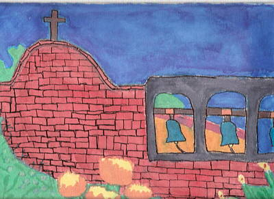 Poster featuring the painting San Juan Capistrano by Artists With Autism Inc
