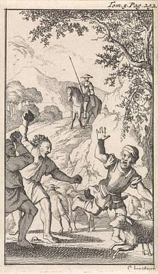 Sancho Is Stoned By Shepherds, Print Maker Caspar Luyken Poster