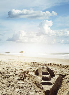Sand Castle Poster by Les Cunliffe