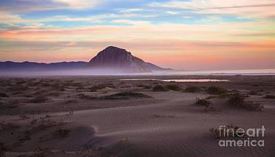 Sand Dunes At Sunset At Morro Bay Beach Shoreline  Poster