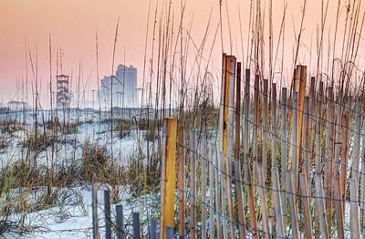 Sand Fence And Orange Beach Poster by Michael Thomas