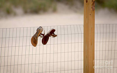 Sandals In A Fence Poster