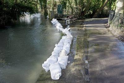 Sandbag Flood Defences Poster by Sheila Terry