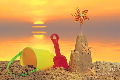 Sandcastle At Sunset Poster