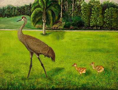 Painted Sandhill Crane With Chicks  Poster