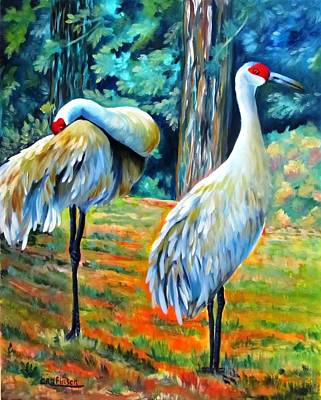 Sandhill Cranes At Twilight Poster
