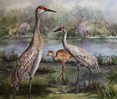 Poster featuring the painting Sandhill Cranes On Alert by Roxanne Tobaison