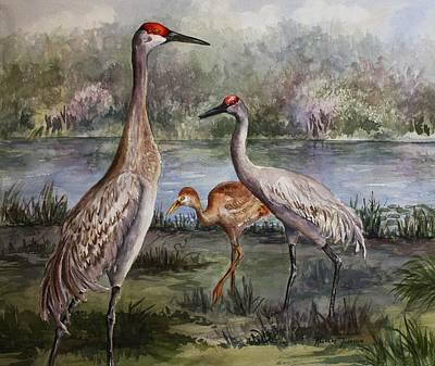 Sandhill Cranes On Alert Poster