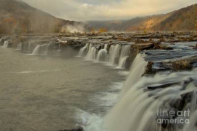Sandstone Falls Foggy Morning Poster by Adam Jewell