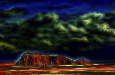 Poster featuring the digital art Sandstone Monolith 1 by William Horden