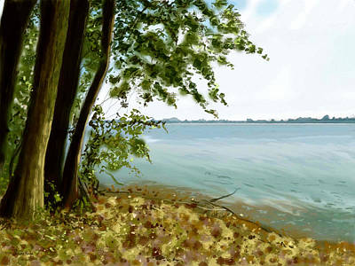 Poster featuring the painting Sandusky Bay by Shawna Rowe