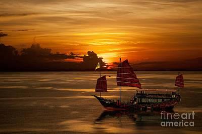 Sanpan Sunset Poster by Shirley Mangini