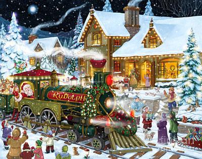 Santa Arrives In Rudolph Train Poster