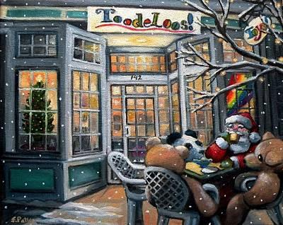 Santa At Toodeloos Toy Store Poster