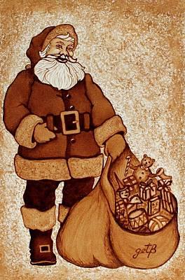 Poster featuring the painting Santa Claus Bag by Georgeta  Blanaru