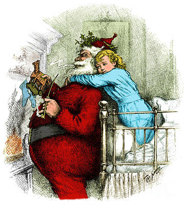 Santa Claus Gets Caught 1889 Poster by Photo Researchers