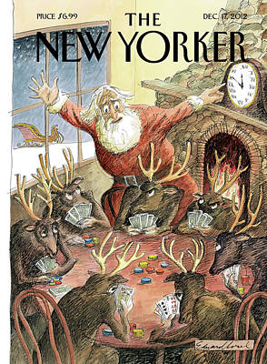 Santa Claus Rushed To Get His Reindeer Ready Poster by Edward Sorel