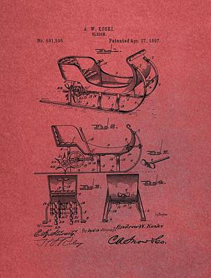 Santa Claus Sleigh Patent Red Poster by Dan Sproul