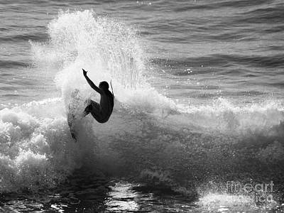Santa Cruz Surfer Black And White Poster
