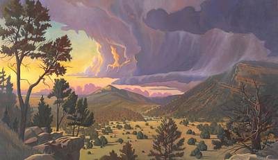 Poster featuring the painting Santa Fe Baldy by Art James West