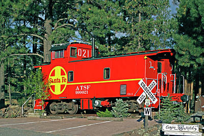 Santa Fe Caboose Off Route 66 Poster by Linda Phelps