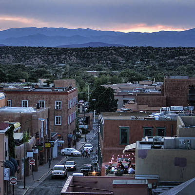 Poster featuring the photograph Santa Fe Evening Rooftops by John Hansen