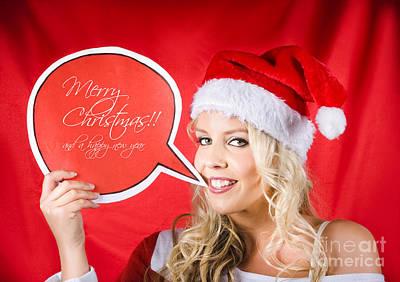 Santa Girl Holding Blank Bubble Board Poster
