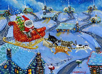 Santa Kitty's Sleigh Poster