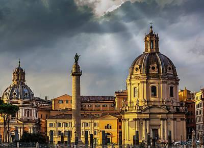 Santa Maria Di Loreto Church And Trajan Poster by Reynold Mainse