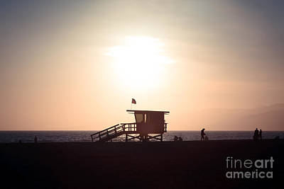 Santa Monica Lifeguard Stand Sunset Photo Poster by Paul Velgos