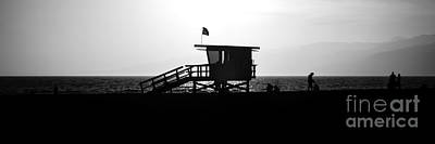 Santa Monica Lifeguard Tower Black And White Picture Poster by Paul Velgos