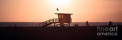 Santa Monica Lifeguard Tower Panorama Photo Poster by Paul Velgos