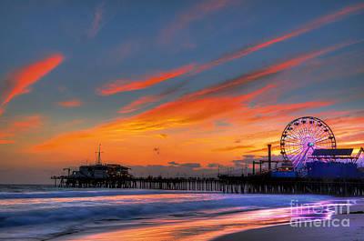 Santa Monica Pier At Dusk Poster by Eddie Yerkish