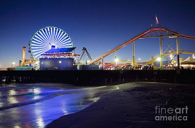 Santa Monica Pier At Night Poster