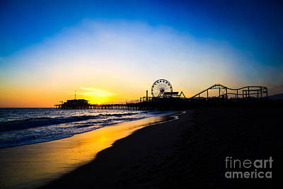Santa Monica Pier Pacific Ocean Sunset Poster by Paul Velgos