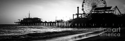Santa Monica Pier Panorama Black And White Photo Poster