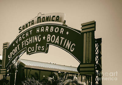 Santa Monica Pier Sign Poster by David Millenheft
