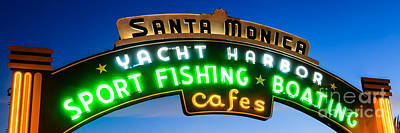 Santa Monica Pier Sign Panorama Picture Poster by Paul Velgos