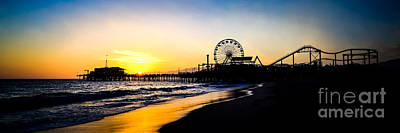 Santa Monica Pier Sunset Panoramic Photo Poster by Paul Velgos