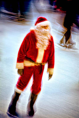 Santa On Ice Poster by Chris Lord