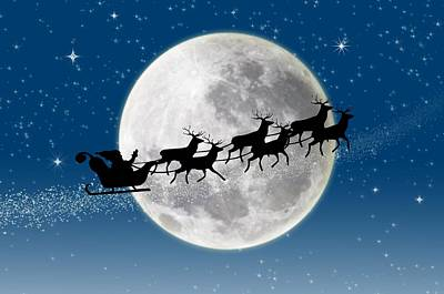 Santa Over The Moon Poster by Doc Braham