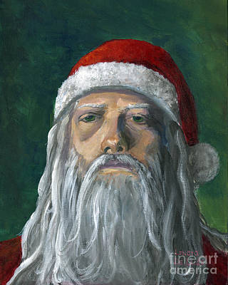 Santa Portrait Art Red And Green Poster