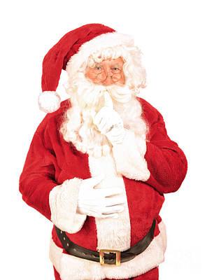 Santa Saying Shush Poster by Amanda Elwell