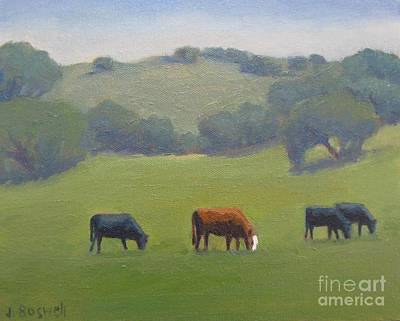 Poster featuring the painting Santa Ynez Cows by Jennifer Boswell