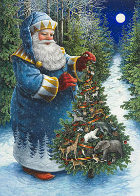 Santa's Christmas Tree Poster by Lynn Bywaters