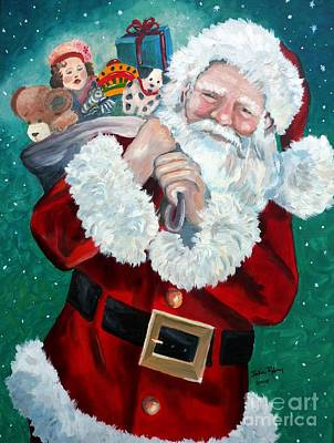Poster featuring the painting Santa's Coming To Town by Julie Brugh Riffey