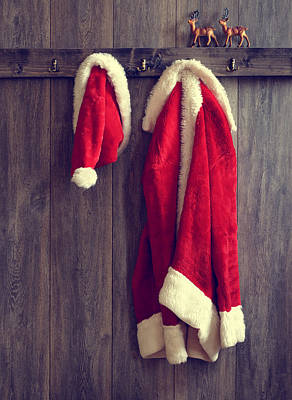 Santa's Hat And Coat Poster