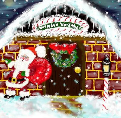 Poster featuring the painting Santa's Workshop by Lori  Lovetere