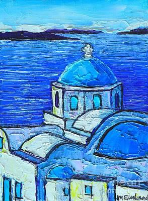 Santorini  Blue Poster by Ana Maria Edulescu